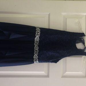 High low navy blue prom dress